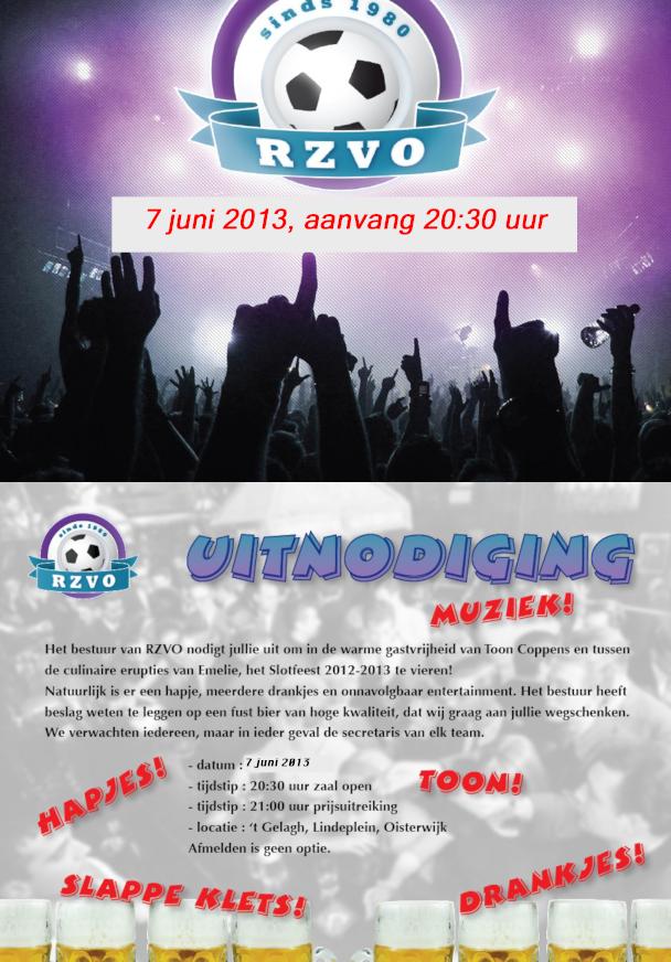 Uitnodiging feestavond RZVO 7 juni 2013